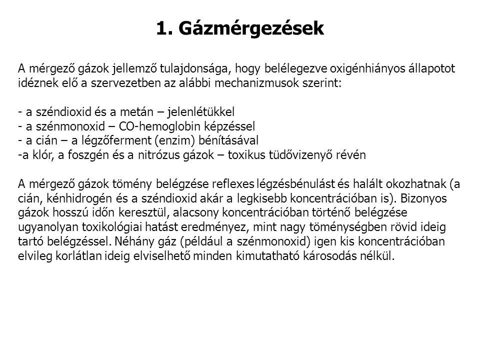 1. Gázmérgezések A mérgező gázok jellemző tulajdonsága, hogy belélegezve oxigénhiányos állapotot idéznek elő a szervezetben az alábbi mechanizmusok sz