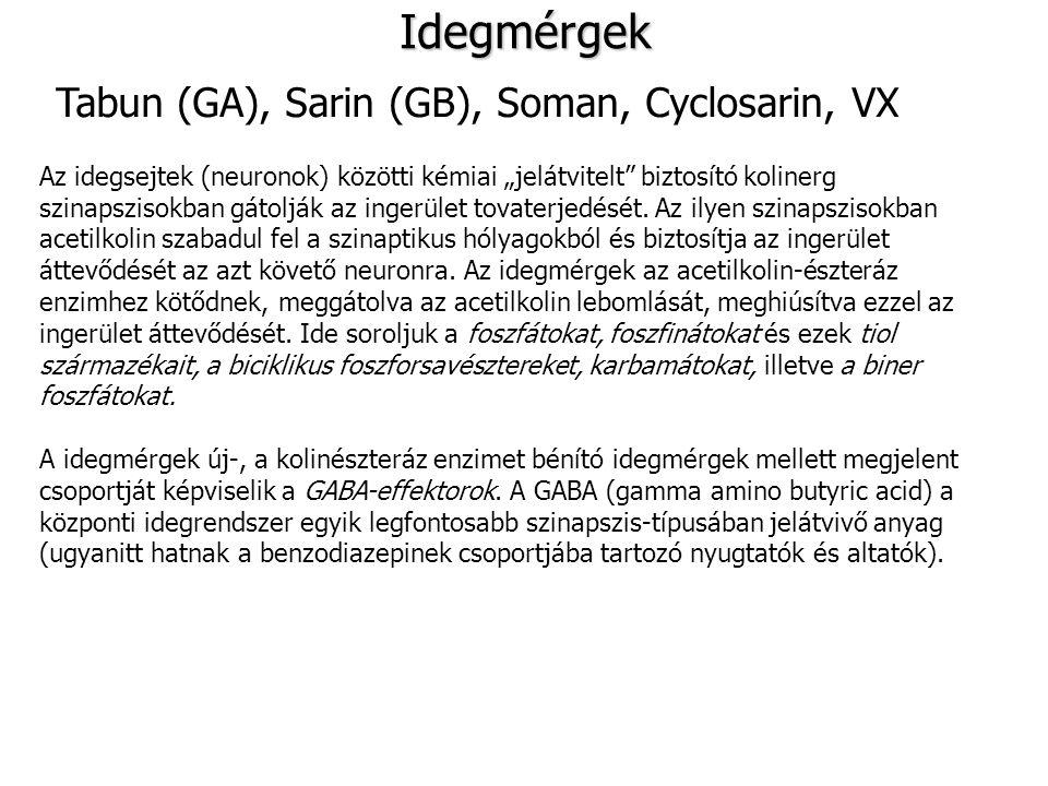 """Idegmérgek Tabun (GA), Sarin (GB), Soman, Cyclosarin, VX Az idegsejtek (neuronok) közötti kémiai """"jelátvitelt"""" biztosító kolinerg szinapszisokban gáto"""
