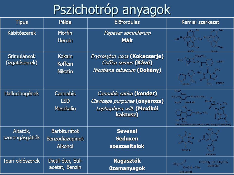 Pszichotróp anyagok TípusPéldaElőfordulás Kémiai szerkezet KábítószerekMorfinHeroin Papaver somniferum Mák Stimulánsok (izgatószerek) KokainKoffeinNik