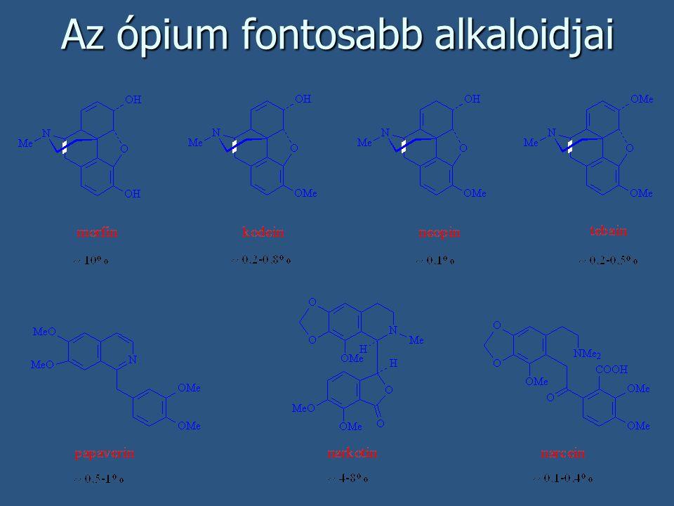 Az ópium fontosabb alkaloidjai