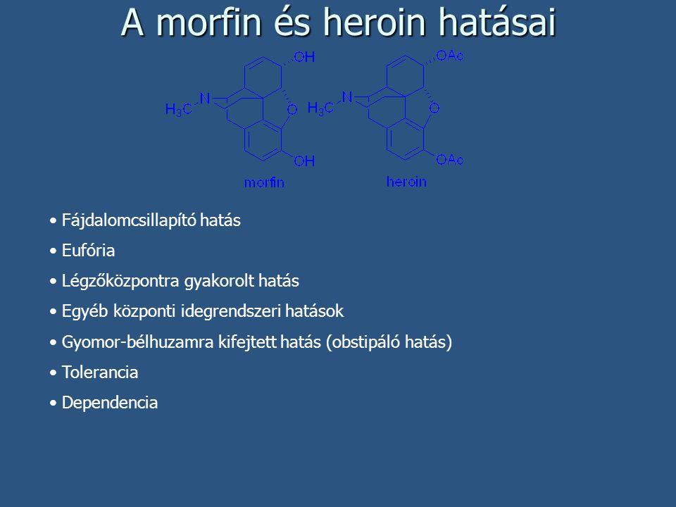 A morfin és heroin hatásai Fájdalomcsillapító hatás Eufória Légzőközpontra gyakorolt hatás Egyéb központi idegrendszeri hatások Gyomor-bélhuzamra kife