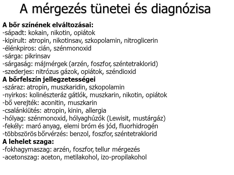A mérgezés tünetei és diagnózisa A testhőmérséklet változásai: -emelkedett: anilin, kinin, kokain, fém-aeroszol belégzés -csökkent: arzén, altatószerek, nyugtatók A vizelet külleme: -vörös: fenoftalein, azofen-származékok -sárga: pikrinsav, sáfrány -zöldeskék: metilénkék, cörulamin -zöld: karbol -véres: nehézfém, oxalátok -barnás-vörös: arzén-hidrogén., rézsók, foszforhidrogén