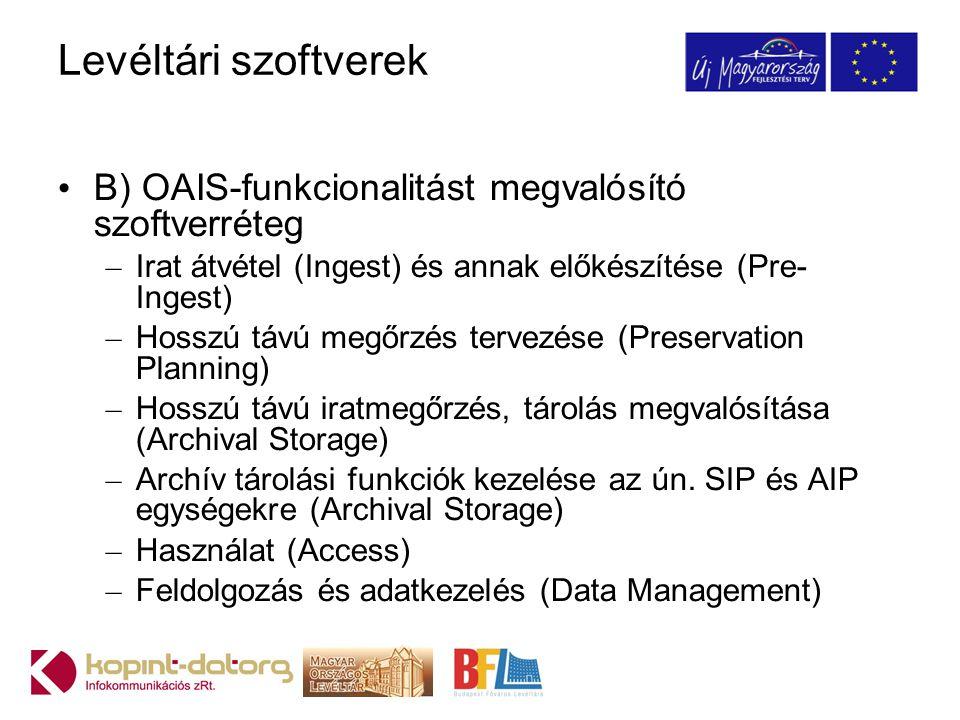 Levéltári szoftverek B) OAIS-funkcionalitást megvalósító szoftverréteg – Irat átvétel (Ingest) és annak előkészítése (Pre- Ingest) – Hosszú távú megőr