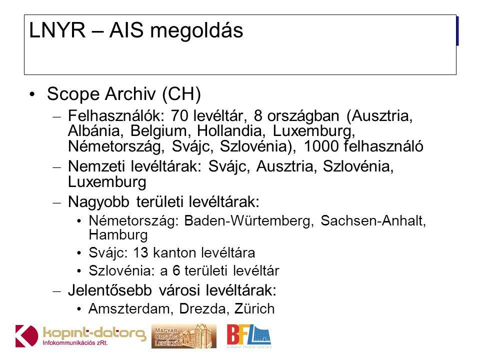 LNYR – AIS megoldás Scope Archiv (CH) – Felhasználók: 70 levéltár, 8 országban (Ausztria, Albánia, Belgium, Hollandia, Luxemburg, Németország, Svájc,