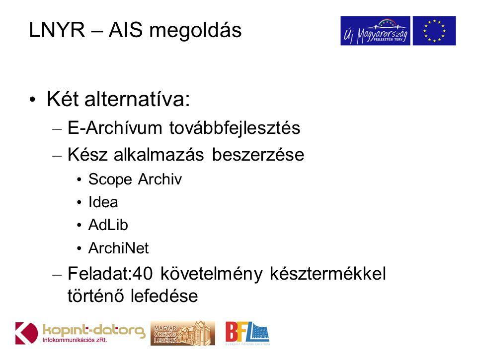 LNYR – AIS megoldás Két alternatíva: – E-Archívum továbbfejlesztés – Kész alkalmazás beszerzése Scope Archiv Idea AdLib ArchiNet – Feladat:40 követelm