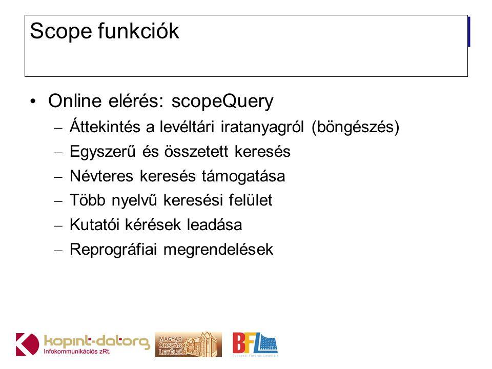 Scope funkciók Online elérés: scopeQuery – Áttekintés a levéltári iratanyagról (böngészés) – Egyszerű és összetett keresés – Névteres keresés támogatá