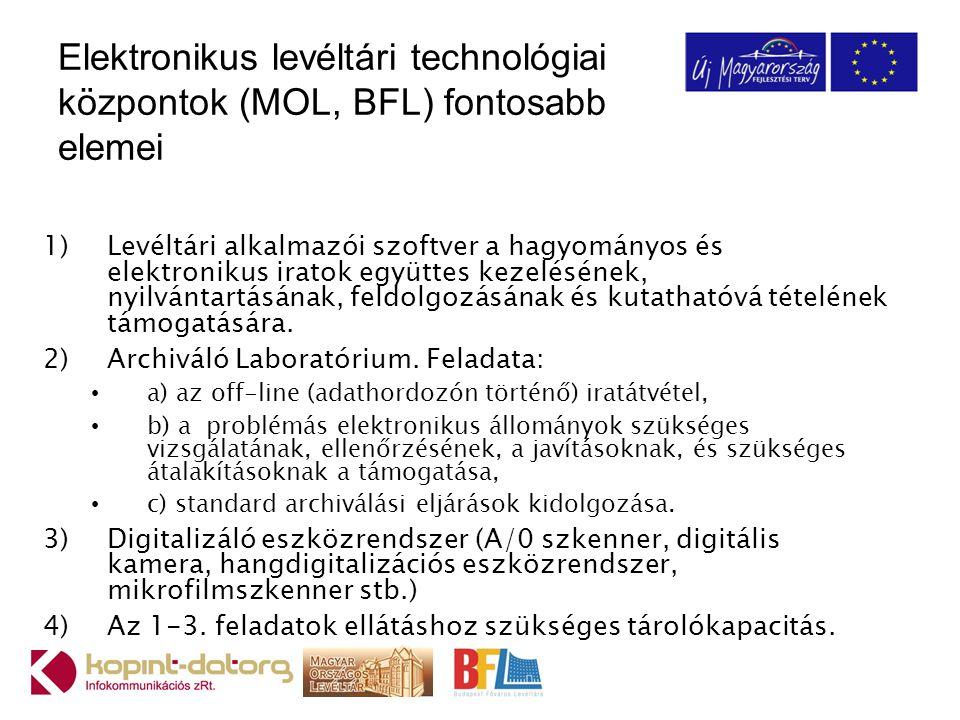Elektronikus levéltári technológiai központok (MOL, BFL) fontosabb elemei 1)Levéltári alkalmazói szoftver a hagyományos és elektronikus iratok együtte