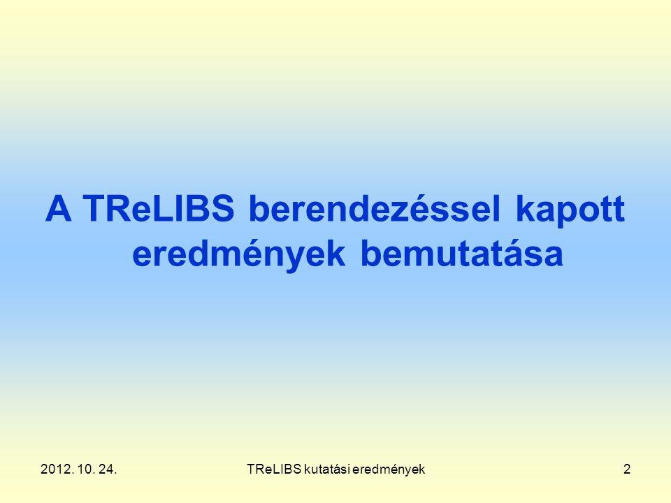 2012. 10. 24.TReLIBS kutatási eredmények2 A TReLIBS berendezéssel kapott eredmények bemutatása