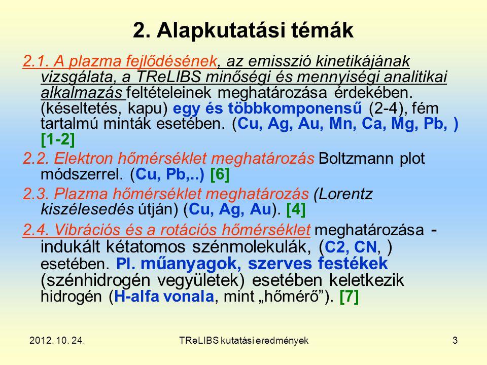 2012. 10. 24.TReLIBS kutatási eredmények3 2. Alapkutatási témák 2.1.