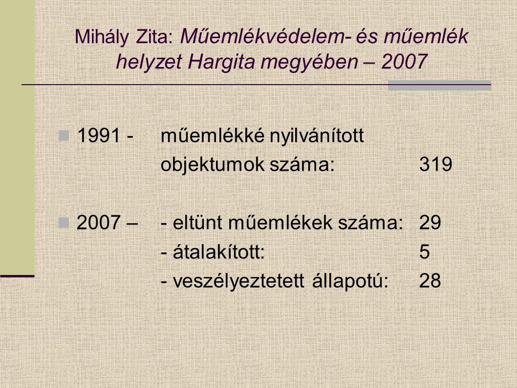 Mihály Zita: Műemlékvédelem- és műemlék helyzet Hargita megyében – 2007 1991 - műemlékké nyilvánított objektumok száma: 319 2007 – - eltünt műemlékek száma:29 - átalakított:5 - veszélyeztetett állapotú:28