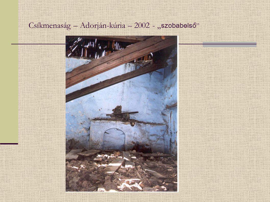 """Csíkmenaság – Adorján-kúria – 2002 - """" szobabelső """""""