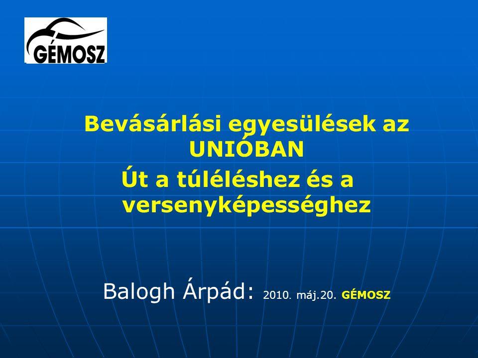 Bevásárlási egyesülések az UNIÓBAN Út a túléléshez és a versenyképességhez Balogh Árpád: 2010.
