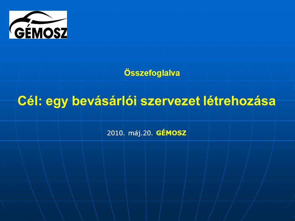 Összefoglalva Cél: egy bevásárlói szervezet létrehozása 2010. máj.20. GÉMOSZ