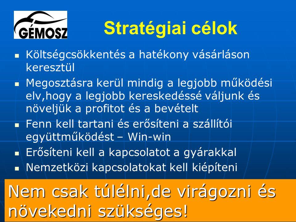 Stratégiai célok Költségcsökkentés a hatékony vásárláson keresztül Megosztásra kerül mindig a legjobb működési elv,hogy a legjobb kereskedéssé váljunk és növeljük a profitot és a bevételt Fenn kell tartani és erősíteni a szállítói együttműködést – Win-win Erősíteni kell a kapcsolatot a gyárakkal Nemzetközi kapcsolatokat kell kiépíteni Nem csak túlélni,de virágozni és növekedni szükséges!