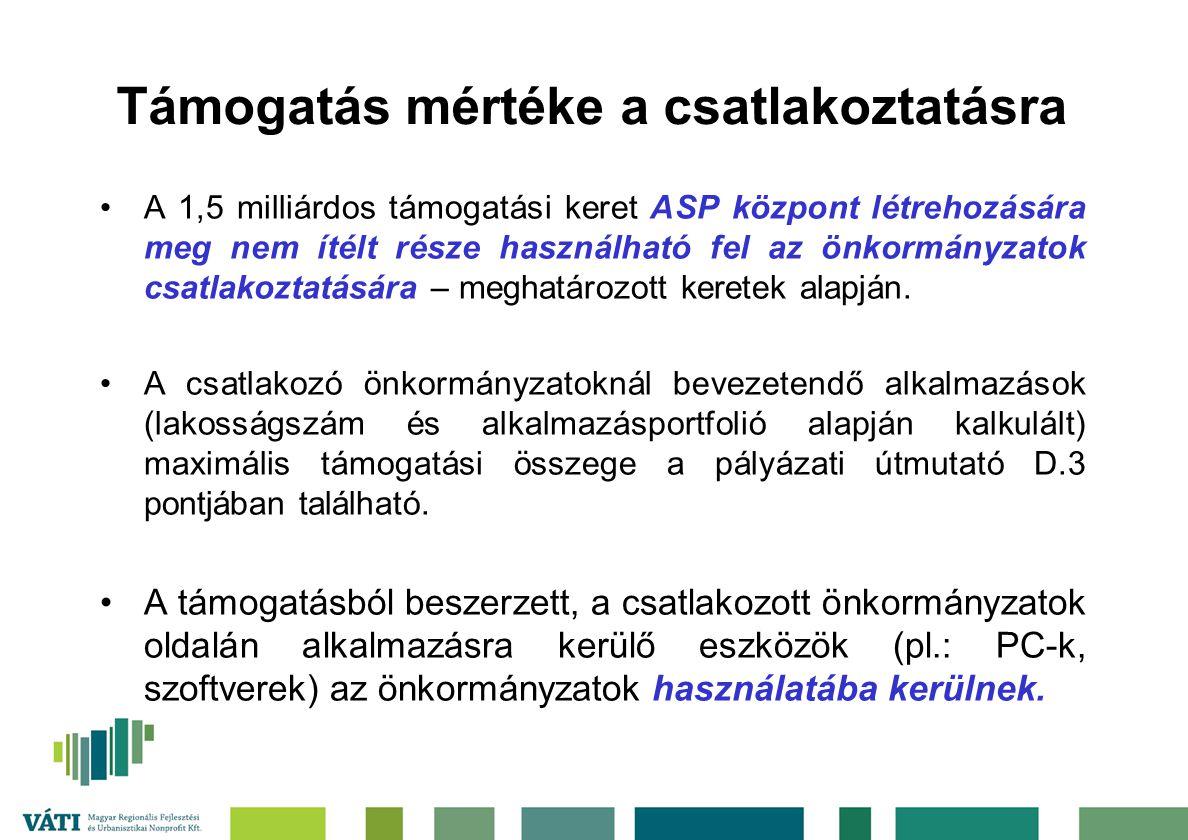 Támogatás mértéke a csatlakoztatásra A 1,5 milliárdos támogatási keret ASP központ létrehozására meg nem ítélt része használható fel az önkormányzatok