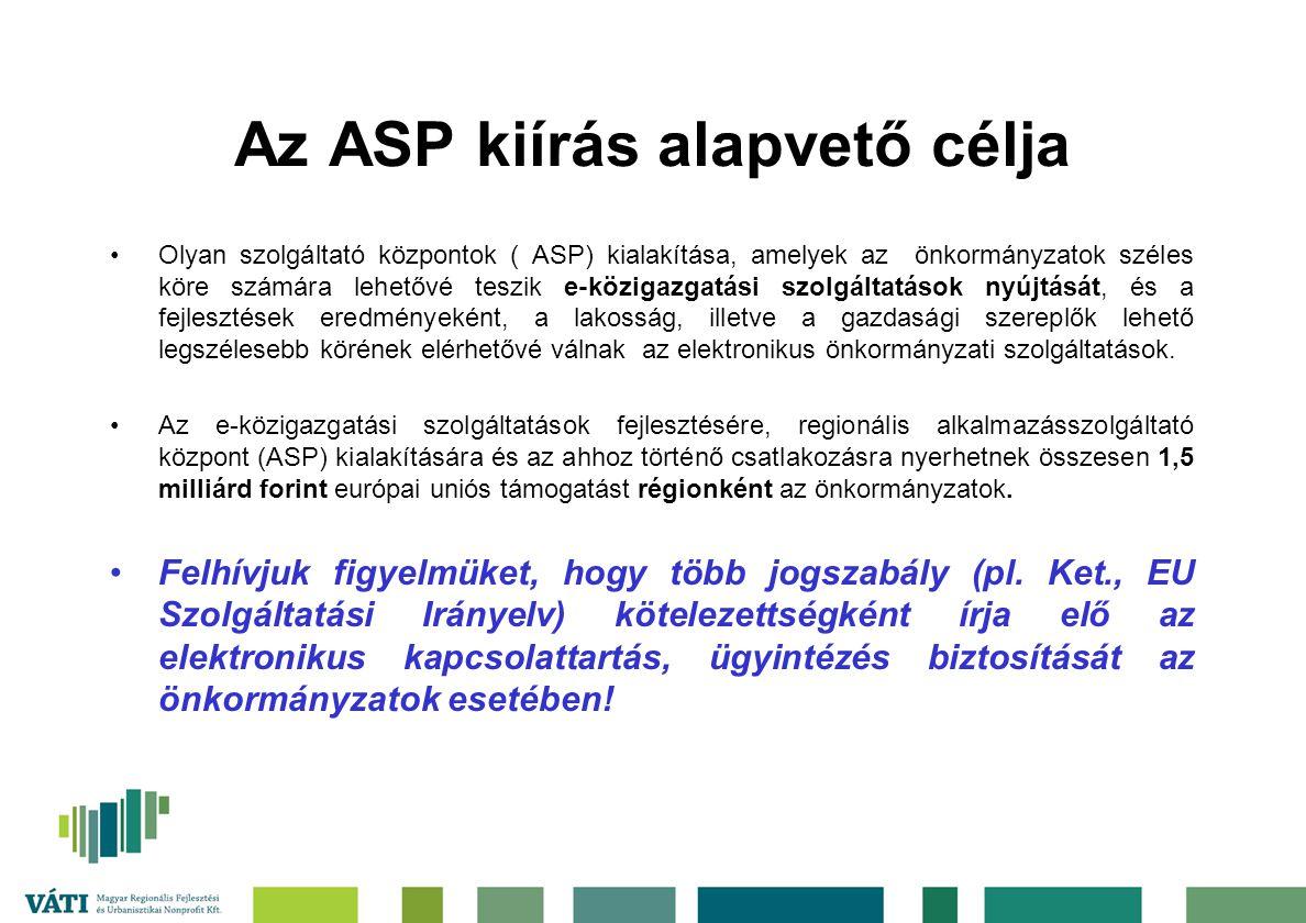 Az ASP kiírás alapvető célja Olyan szolgáltató központok ( ASP) kialakítása, amelyek az önkormányzatok széles köre számára lehetővé teszik e-közigazgatási szolgáltatások nyújtását, és a fejlesztések eredményeként, a lakosság, illetve a gazdasági szereplők lehető legszélesebb körének elérhetővé válnak az elektronikus önkormányzati szolgáltatások.