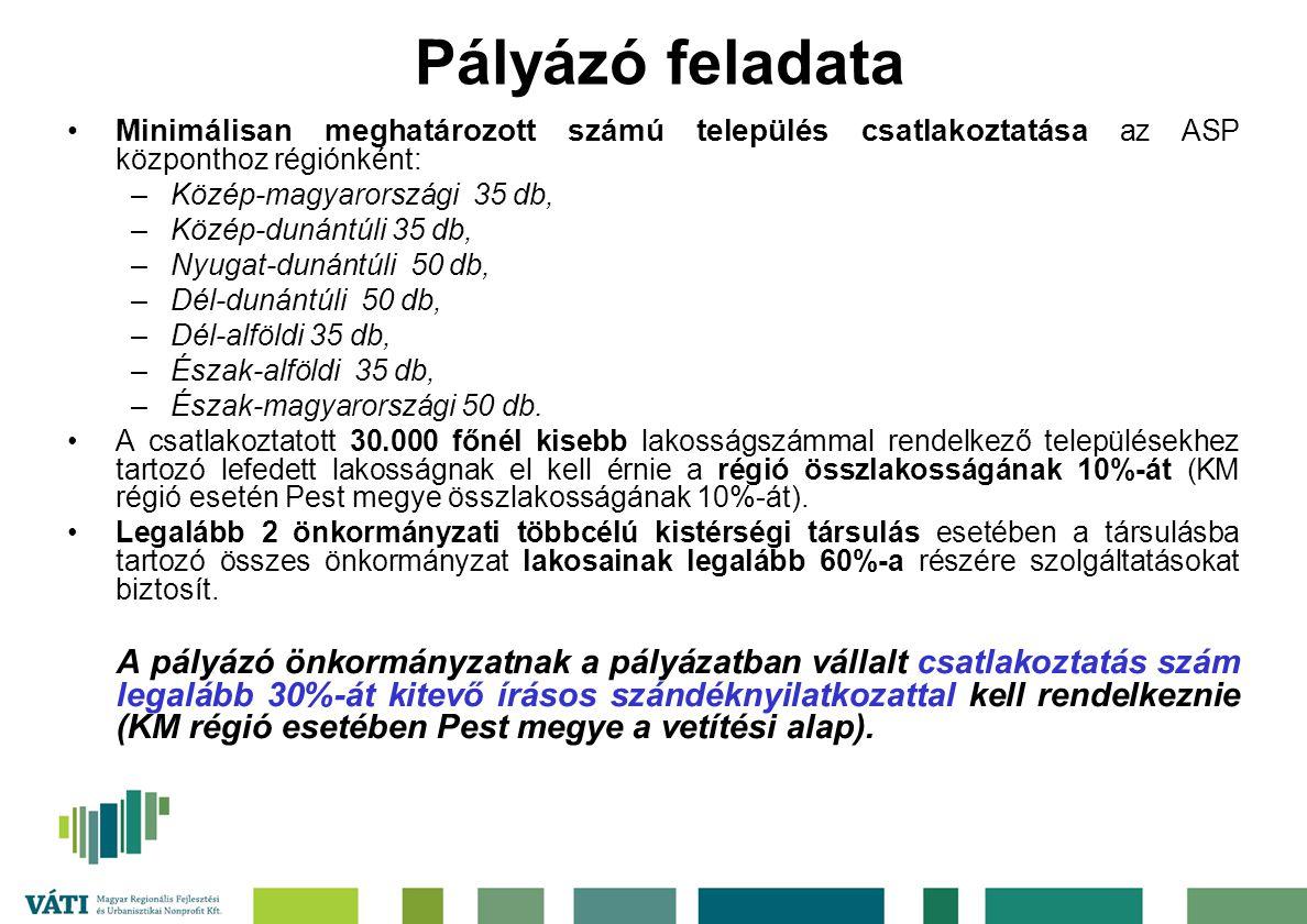 Pályázó feladata Minimálisan meghatározott számú település csatlakoztatása az ASP központhoz régiónként: –Közép-magyarországi 35 db, –Közép-dunántúli 35 db, –Nyugat-dunántúli 50 db, –Dél-dunántúli 50 db, –Dél-alföldi 35 db, –Észak-alföldi 35 db, –Észak-magyarországi 50 db.