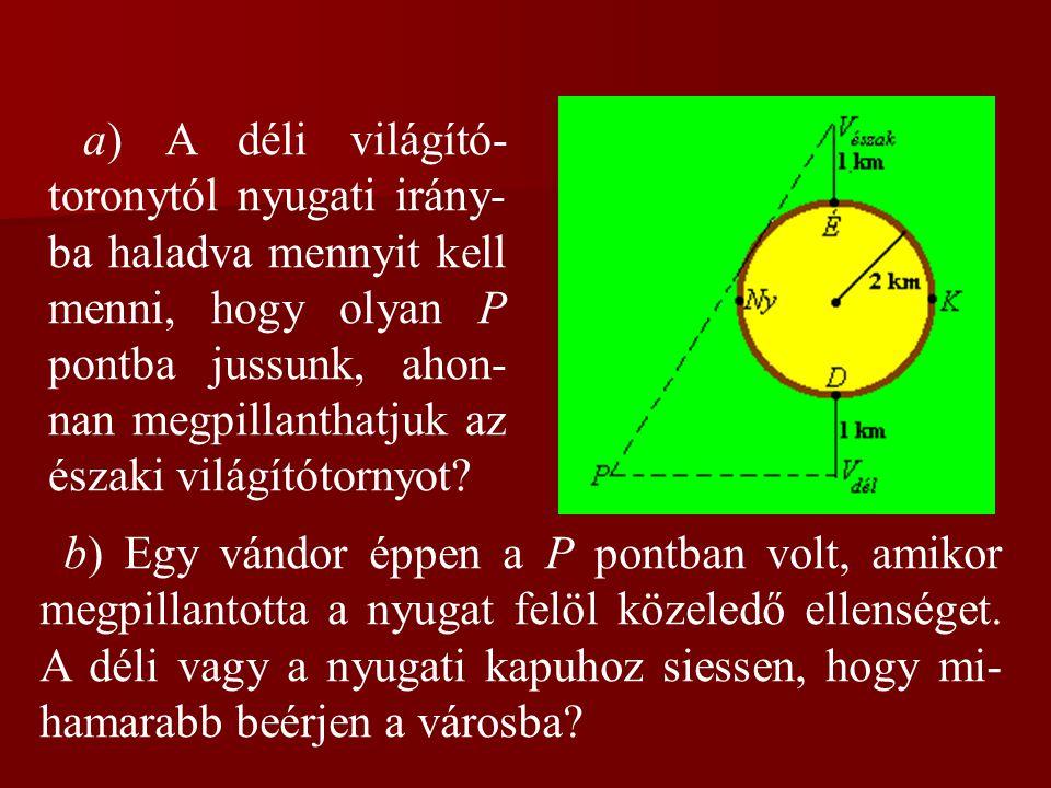 a) A déli világító- toronytól nyugati irány- ba haladva mennyit kell menni, hogy olyan P pontba jussunk, ahon- nan megpillanthatjuk az északi világítótornyot.