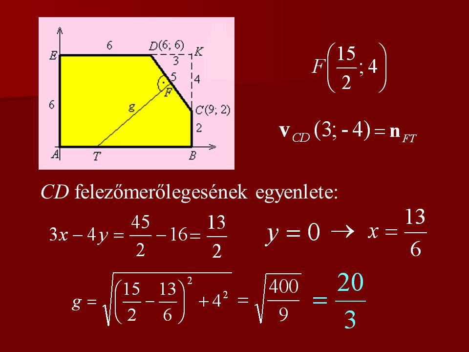 CD felezőmerőlegesének egyenlete: