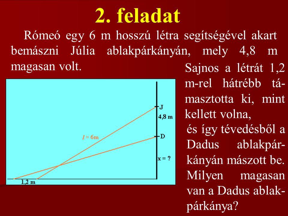 2. feladat Rómeó egy 6 m hosszú létra segítségével akart bemászni Júlia ablakpárkányán, mely 4,8 m magasan volt. Sajnos a létrát 1,2 m-rel hátrébb tá-