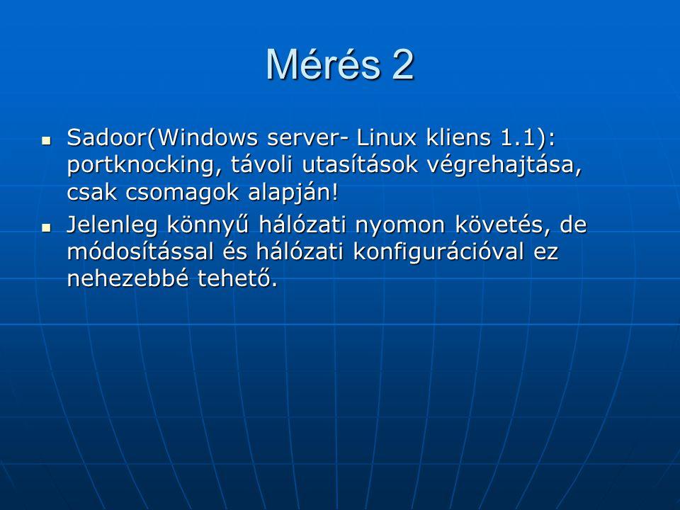 Mérés 2 Sadoor(Windows server- Linux kliens 1.1): portknocking, távoli utasítások végrehajtása, csak csomagok alapján! Sadoor(Windows server- Linux kl