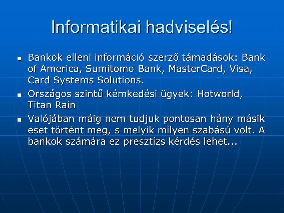 Informatikai hadviselés! Bankok elleni információ szerző támadások: Bank of America, Sumitomo Bank, MasterCard, Visa, Card Systems Solutions. Bankok e