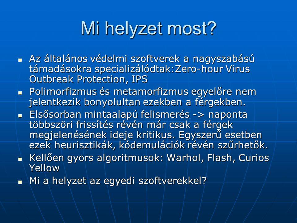 Mi helyzet most? Az általános védelmi szoftverek a nagyszabású támadásokra specializálódtak:Zero-hour Virus Outbreak Protection, IPS Az általános véde