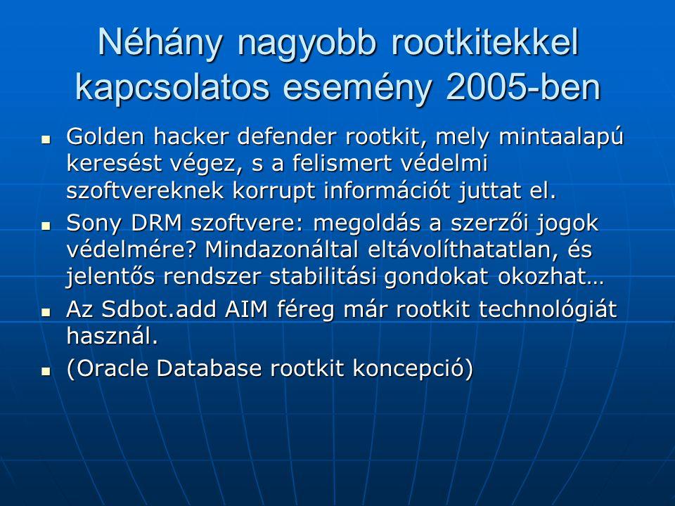 Néhány nagyobb rootkitekkel kapcsolatos esemény 2005-ben Golden hacker defender rootkit, mely mintaalapú keresést végez, s a felismert védelmi szoftve