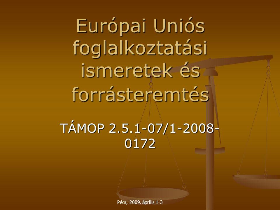 Pécs, 2009. április 1-3 Európai Uniós foglalkoztatási ismeretek és forrásteremtés TÁMOP 2.5.1-07/1-2008- 0172