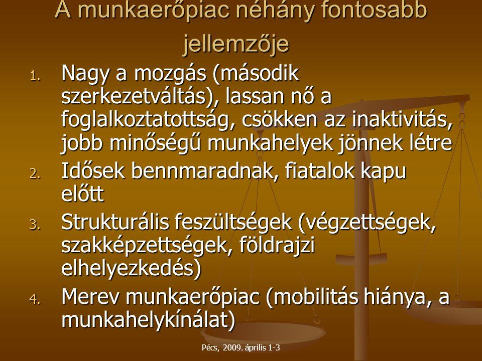 Pécs, 2009. április 1-3 A munkaerőpiac néhány fontosabb jellemzője A munkaerőpiac néhány fontosabb jellemzője 1. Nagy a mozgás (második szerkezetváltá