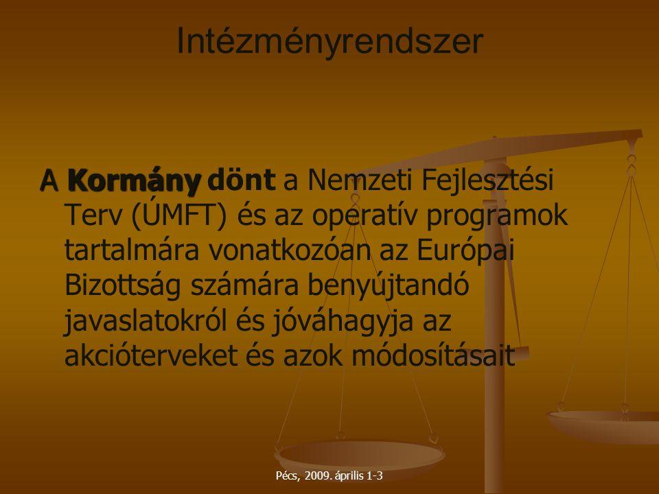 Pécs, 2009. április 1-3 Intézményrendszer A Kormány A Kormány dönt a Nemzeti Fejlesztési Terv (ÚMFT) és az operatív programok tartalmára vonatkozóan a