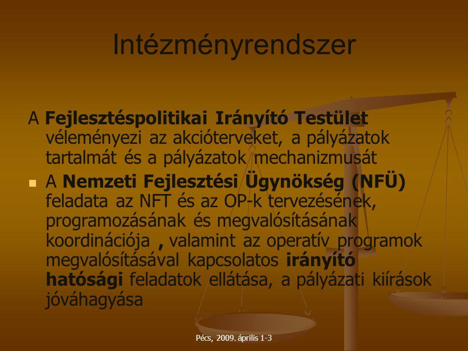 Pécs, 2009. április 1-3 Intézményrendszer A Fejlesztéspolitikai Irányító Testület véleményezi az akcióterveket, a pályázatok tartalmát és a pályázatok