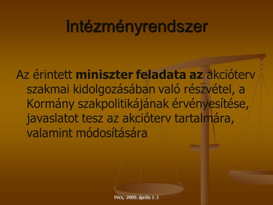 Pécs, 2009. április 1-3 Intézményrendszer Az érintett miniszter feladata az akcióterv szakmai kidolgozásában való részvétel, a Kormány szakpolitikáján