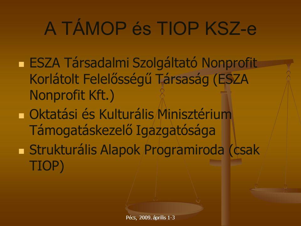Pécs, 2009. április 1-3 A TÁMOP és TIOP KSZ-e ESZA Társadalmi Szolgáltató Nonprofit Korlátolt Felelősségű Társaság (ESZA Nonprofit Kft.) Oktatási és K