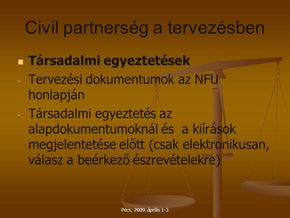 Pécs, 2009. április 1-3 Civil partnerség a tervezésben Társadalmi egyeztetések - - Tervezési dokumentumok az NFU honlapján - - Társadalmi egyeztetés a