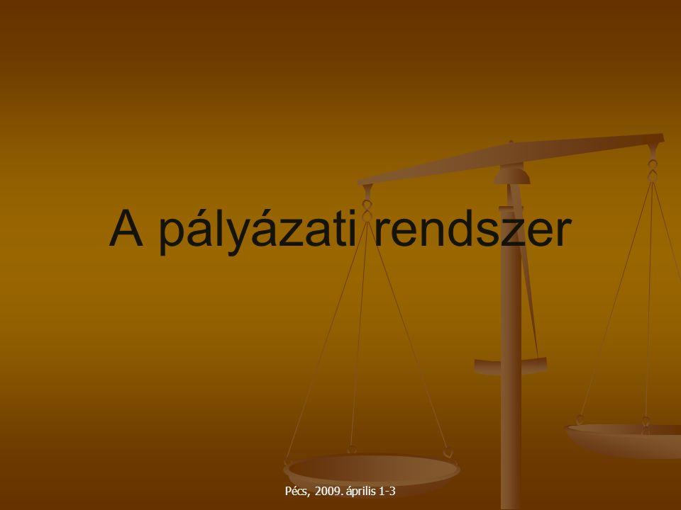 Pécs, 2009. április 1-3 A pályázati rendszer