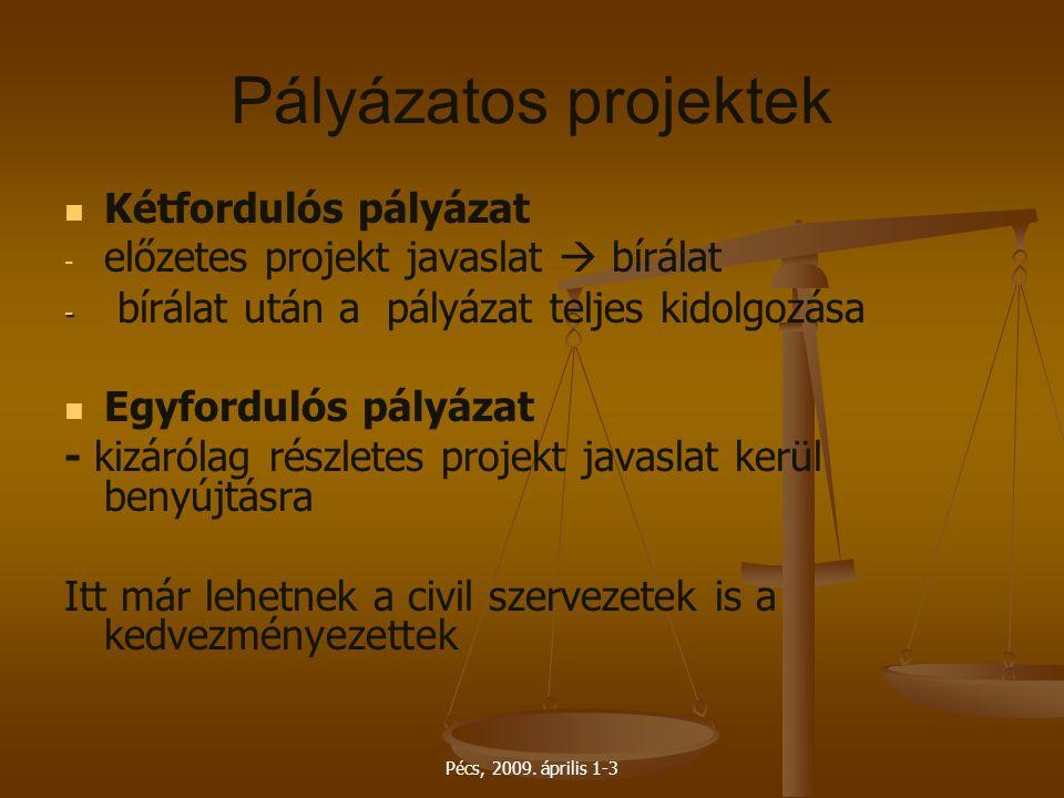 Pécs, 2009. április 1-3 Pályázatos projektek Kétfordulós pályázat - - előzetes projekt javaslat  bírálat - - bírálat után a pályázat teljes kidolgozá