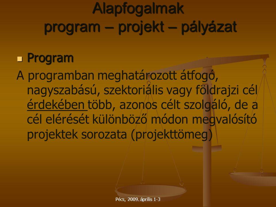 Pécs, 2009. április 1-3 Alapfogalmak program – projekt – pályázat Program Program A programban meghatározott átfogó, nagyszabású, szektoriális vagy fö