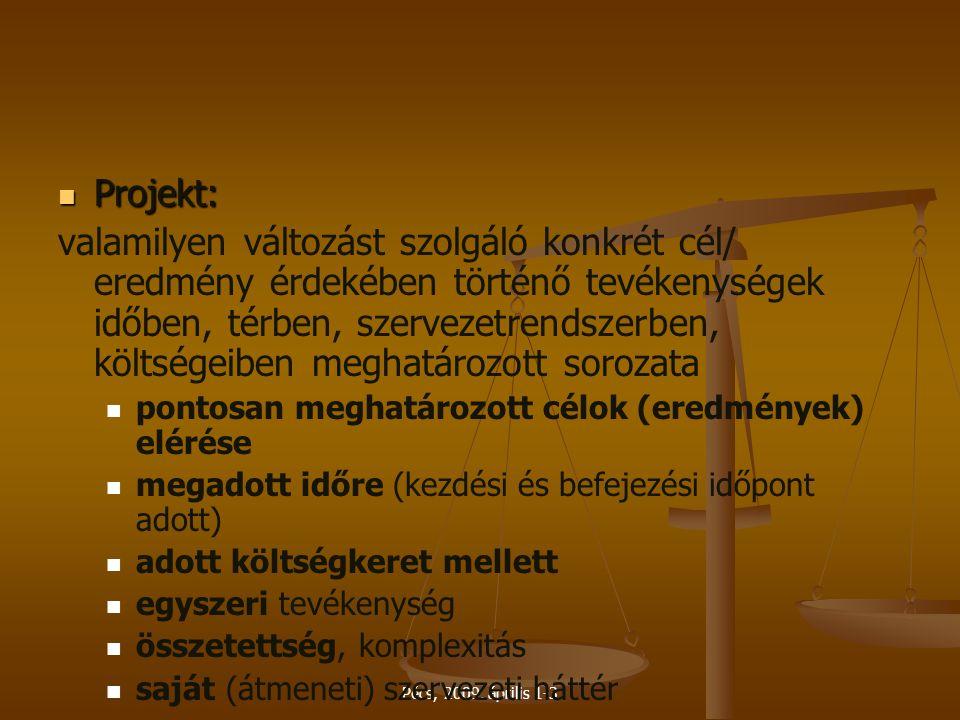 Pécs, 2009. április 1-3 Projekt: Projekt: valamilyen változást szolgáló konkrét cél/ eredmény érdekében történő tevékenységek időben, térben, szerveze