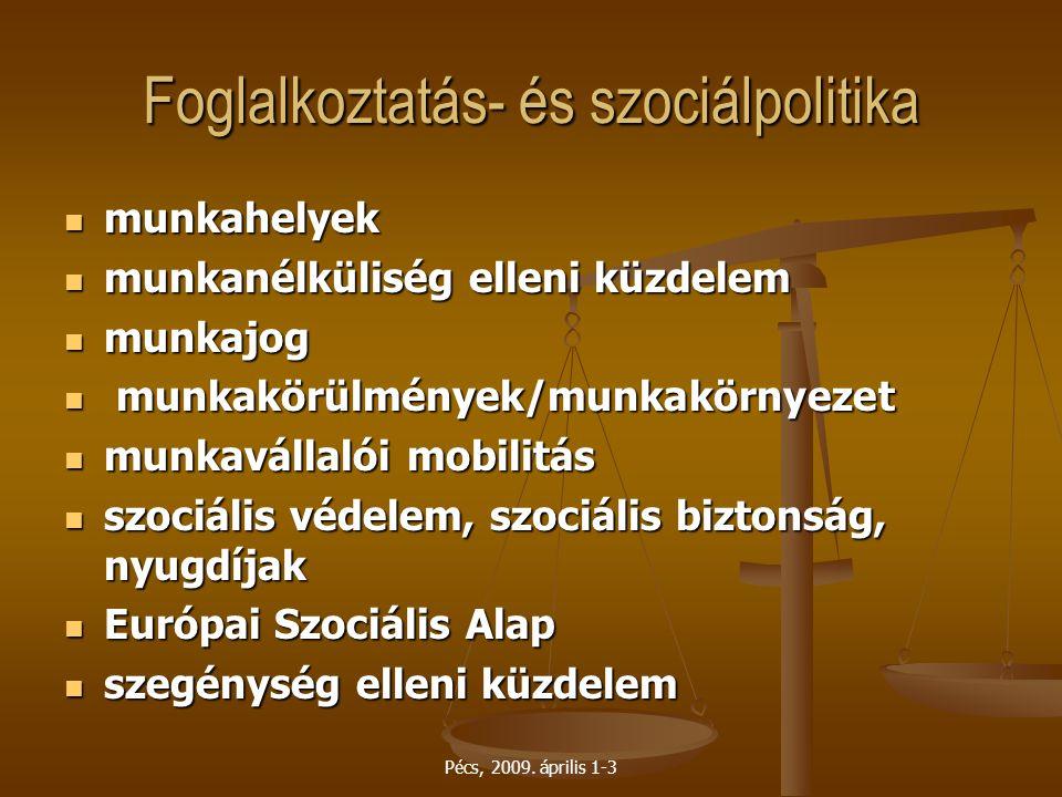 Pécs, 2009. április 1-3 Foglalkoztatás- és szociálpolitika munkahelyek munkahelyek munkanélküliség elleni küzdelem munkanélküliség elleni küzdelem mun