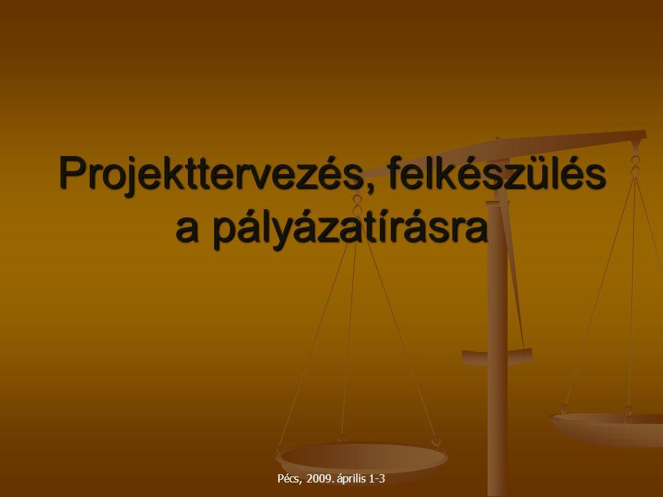 Pécs, 2009. április 1-3 Projekttervezés, felkészülés a pályázatírásra