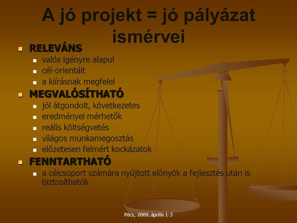 Pécs, 2009. április 1-3 A jó projekt = jó pályázat ismérvei RELEVÁNS RELEVÁNS valós igényre alapul cél-orientált a kiírásnak megfelel MEGVALÓSÍTHATÓ M