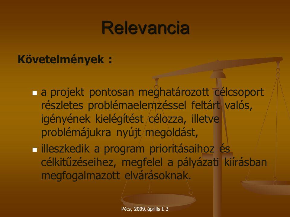 Pécs, 2009. április 1-3 Relevancia Követelmények : a projekt pontosan meghatározott célcsoport részletes problémaelemzéssel feltárt valós, igényének k