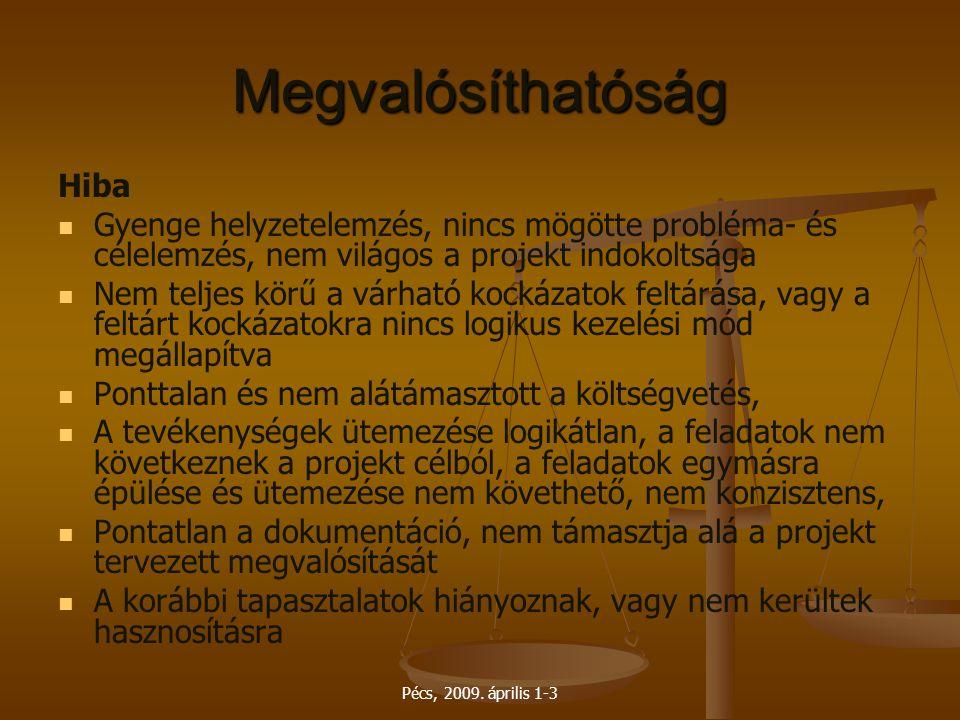 Pécs, 2009. április 1-3 Megvalósíthatóság Hiba Gyenge helyzetelemzés, nincs mögötte probléma- és célelemzés, nem világos a projekt indokoltsága Nem te