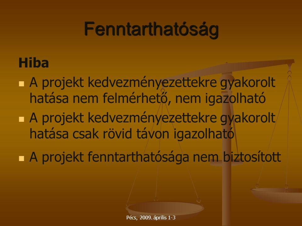 Pécs, 2009. április 1-3 Fenntarthatóság Hiba A projekt kedvezményezettekre gyakorolt hatása nem felmérhető, nem igazolható A projekt kedvezményezettek