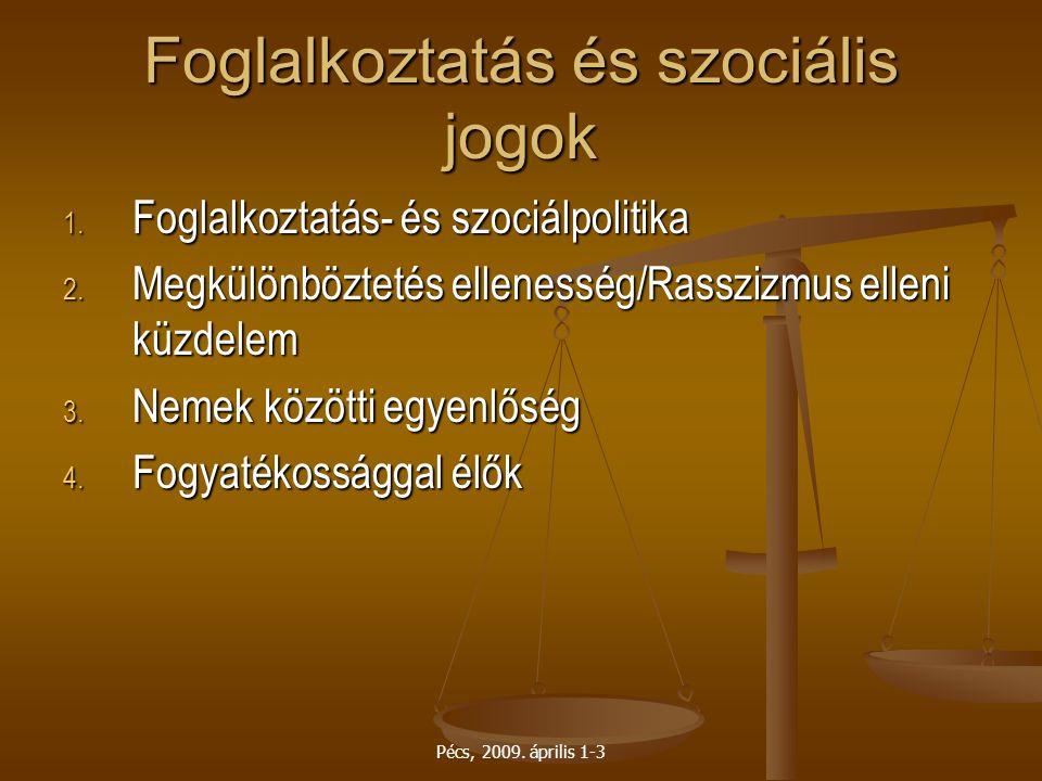 Pécs, 2009. április 1-3 Foglalkoztatás és szociális jogok 1. Foglalkoztatás- és szociálpolitika 2. Megkülönböztetés ellenesség/Rasszizmus elleni küzde