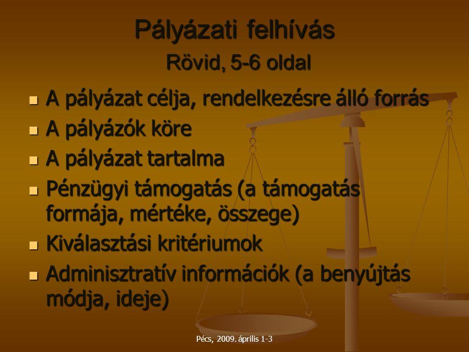 Pécs, 2009. április 1-3 Pályázati felhívás Rövid, 5-6 oldal A pályázat célja, rendelkezésre álló forrás A pályázat célja, rendelkezésre álló forrás A