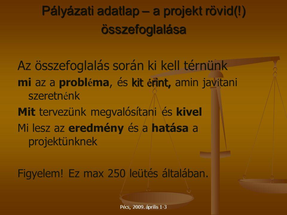 Pécs, 2009. április 1-3 Pályázati adatlap – a projekt rövid(!) összefoglalása Az összefoglalás során ki kell térnünk kit é rint, mi az a probl é ma, é