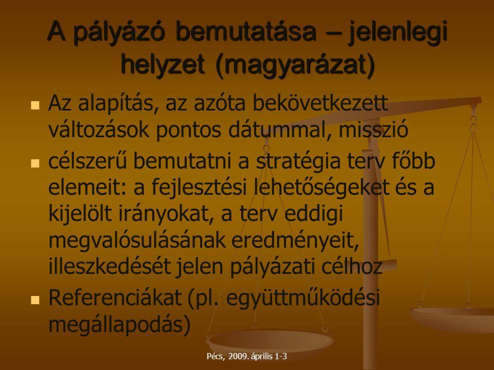 Pécs, 2009. április 1-3 A pályázó bemutatása – jelenlegi helyzet (magyarázat) Az alapítás, az azóta bekövetkezett változások pontos dátummal, misszió
