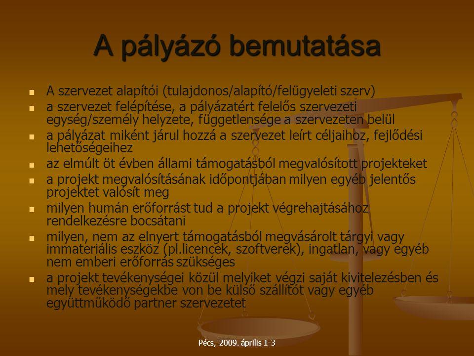 Pécs, 2009. április 1-3 A pályázó bemutatása A szervezet alapítói (tulajdonos/alapító/felügyeleti szerv) a szervezet felépítése, a pályázatért felelős